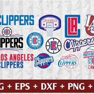 20 2 Vectorency Los Angeles Clippers SVG - set of Cut Files, EPS, DXF, PNG Files of a Sports Team, for Cutting, Design, T-shirts, Mugs, Projects, Crafts