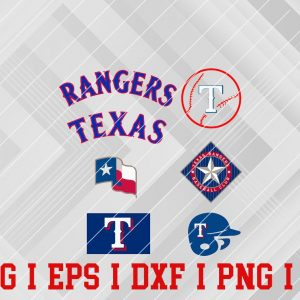 20 Vectorency Texas Rangers SVG, EPS, DXF, PNG Files of a Sports Team, for Cutting, Design, T-Shirts, Mugs, Projects, Crafts