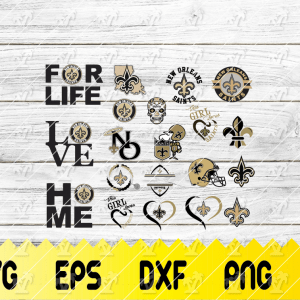 21 1 Vectorency New Orleans Saints SVG Bundle - set of cut file, EPS, DXF, SVG, PNG Files of a Sports Team, for Cutting, Design, T-shirts, Mugs, Projects, Crafts