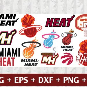 22 1 Vectorency Miami Heat SVG Set of Cut Files, EPS, DXF Files of a Sports Team, For Cutting, Design, T-Shirts, Mugs, Projects, Crafts