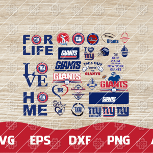 22 1 Vectorency New York Giants SVG Bundle - set of cut file, EPS, DXF, SVG, PNG files of a Sports Team, for Cutting, Design, T-Shirts, Mugs, Projects, Crafts