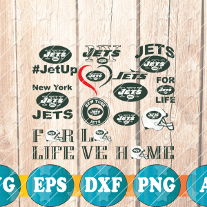 23 1 Vectorency New York Jets SVG Cut Files, EPS, DXF, PNG Files of a Sports Team, for Cutting, Design, T-Shirts, Mugs, Projects, Crafts