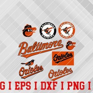 23 Vectorency Baltimore Orioles SVG, EPS, DXF, PNG Files of a Sports Team, for Cutting, Design, T-shirts, Mugs, Projects, Crafts