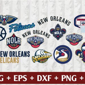 24 1 Vectorency New Orleans Pelicans SVG - set of Cut Files, EPS, DXF, PNG Files of a Sports Team, for Cutting, Design, T-shirts, Mugs, Projects, Crafts