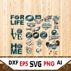 25 1 Vectorency Philadelphia Eagles Set of Cut File, EPS, DXF Files of a Sports Team, for Cutting, Design, T-Shirts, Mugs, Projects, Crafts