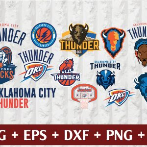 26 1 Vectorency Oklahoma City Thunder SVG - set of Cut Files, EPS, DXF Files of a Sports Team, for Cutting, Design, T-shirts, Mugs, Projects, Crafts