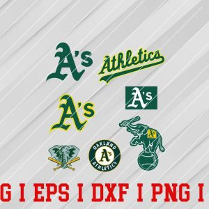 28 Vectorency Oakland Athletics SVG, EPS, DXF Files of a Sports Team, For Cutting, Design, T-Shirts, Mugs, Projects, Crafts
