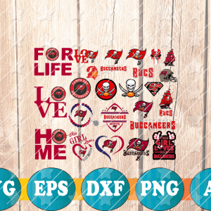 29 1 Vectorency Buccaneers Cut Files Bundle - set of EPS, DXF, SVG, PNG Files of a Sports Team, for Cutting, Design, T-shirts, Mugs, Projects, Crafts