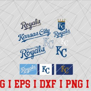 3 Vectorency Kansas City Royals Logo SVG Bundle - Set of SVG, EPS, DXF, PNG Files of a Sports Team, For Cutting, Design, T-Shirts, Mugs, Projects, Crafts...