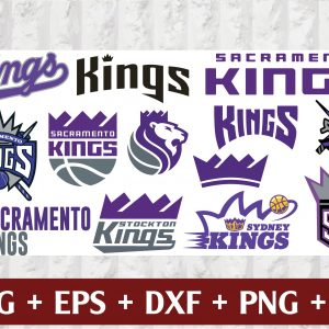 30 1 Vectorency Sacramento Kings SVG - set of Cut Files, EPS, DXF, PNG Files of a Sports Team, for Cutting, Design, T-shirts, Mugs, Projects, Crafts