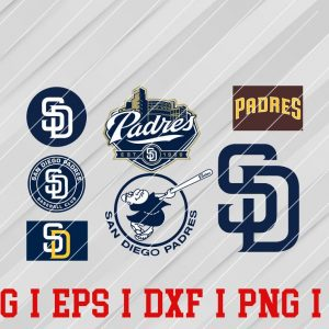 33 Vectorency San Diego Padres Logo SVG, EPS, DXF, PNG Files of a Sports Team, for Cutting, Design, T-shirts, Mugs, Projects, Crafts