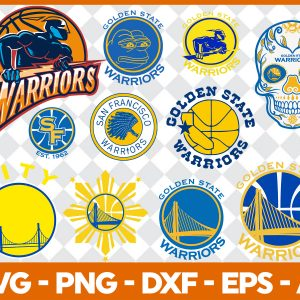 4 1 Vectorency Golden State Warriors SVG - set of Cut Files, EPS, DXF, PNG Files of a Sports Team, for Cutting, Design, T-shirts, Mugs, Projects, Crafts