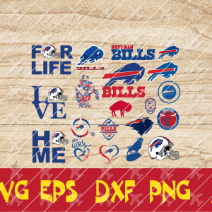 4 2 Vectorency Buffalo Bills Cut Files set of Cut File, EPS, DXF Files of a Sports Team, for Cutting, Design, T-Shirts, Mugs, Projects, Crafts