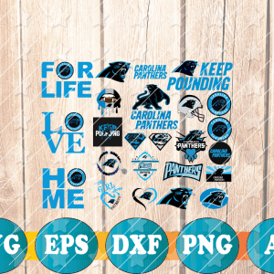 5 2 Vectorency Carolina Panther SVG - set of cut file, EPS, DXF, SVG, PNG Files of a Sports Team, for Cutting, Design, T-Shirts, Mugs, Projects, Crafts