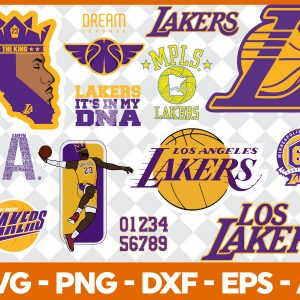 6 1 Vectorency Los Angeles Lakers Set of Cut Files, EPS, DXF Files of a Sports Team, for Cutting, Design, T-Shirts, Mugs, Projects, Crafts