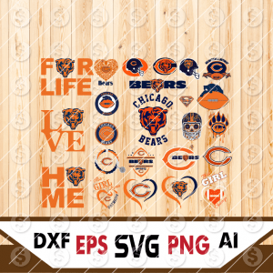 6 1 Vectorency Chicago Bears Cut Files Set of Cut File, EPS, DXF Files of a Sports Team, for Cutting, Design, T-Shirts, Mugs, Projects, Crafts