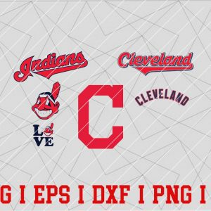7 Vectorency Cleveland Indians Logo SVG Bundle - Set of SVG, EPS, DXF, PNG Files of a Sports Team, For Cutting, Design, T-Shirts, Mugs, Projects, Crafts...