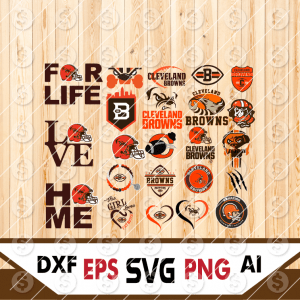 8 1 Vectorency Cleveland Browns Set of Cut File, EPS, DXF Files of a Sports Team, for Cutting, Design, T-Shirts, Mugs, Projects, Crafts