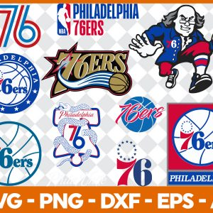 8 Vectorency Philadelphia 76ers SVG - set of Cut Files, EPS, DXF, PNG Files of a Sports Team, for Cutting, Design, T-shirts, Mugs, Projects, Crafts