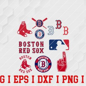 9 Vectorency BOSTON RED SOX SVG Bundle - Set of DXF, EPS, SVG, PNG Files of a Sports Team, For Cutting, Design, T-Shirts, Mugs, Projects, Crafts...