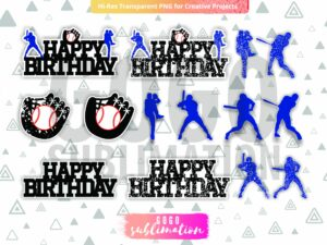 Baseball Birthday Cake Toppers SVG PNG DXF EPS Vector