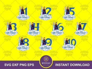 Birthday Numbers Elsa SVG Disney Frozen Vector Cake Topper