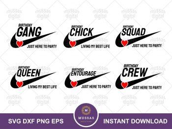 Nike Birthday Squad Crew Gang SVG Bundle