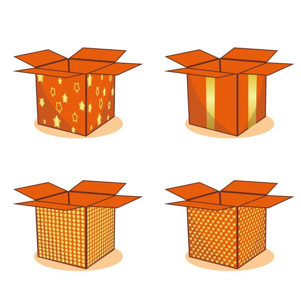 Vectorency Four Orange Boxes With Different Patterns