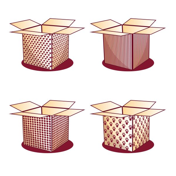 Vectorency Four Red Wine Boxes with Different Patterns