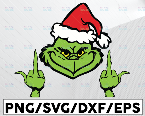 WTMETSY13012021 01 100 Vectorency Grinch Giving The Finger, Christmas SVG PNG DXF Digital Download