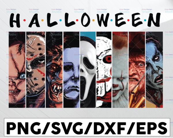 WTMETSY13012021 01 18 Vectorency Funny Friends Horror Halloween, Horror Movies Characters, Happy Halloween PNG, Printable Sublimation Printing