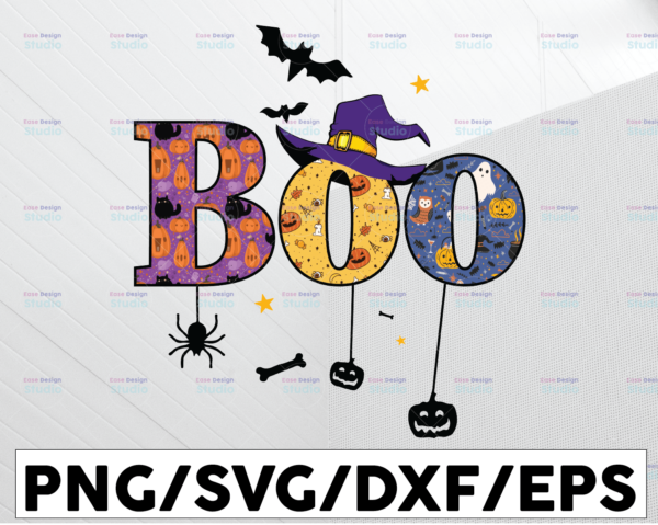 WTMETSY13012021 01 28 Vectorency Boo Halloween Costume PNG, Halloween Gift, Witch Hat PNG, Spider, Bats Sublimation Design Download