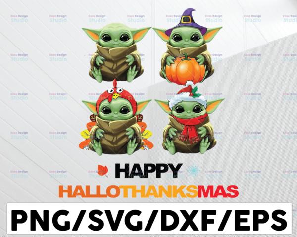 WTMETSY13012021 01 43 Vectorency Pumpkin Santa Witch Baby Yoda, Happy Hallothanksmas PNG Digital File Sublimation