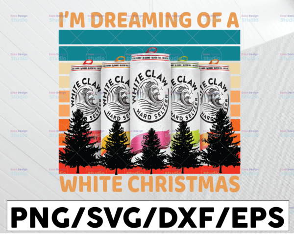 WTMETSY13012021 01 91 Vectorency Vintage White Gift Claws I'm Dreaming Of A White Christmas Drinking Sublimation PNG Files Digital Art