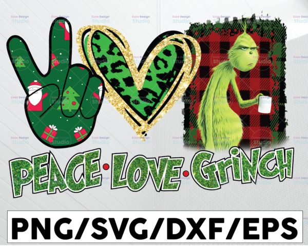 WTMETSY13012021 01 99 Vectorency Peace Love Grinch, Peace Love Grinch PNG, Grinch PNG, Christmas Grinch, Resting Grinch Face, Sublimation Design, Digital Download, Grinch Movie