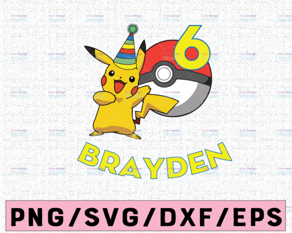 WTMETSY16122020 02 15 Vectorency Pikachu Pokemon Custom Birthday Party SVG, Personalized With Name And Age, Pikachu Birthday SVG, Pokemon Birthday SVG