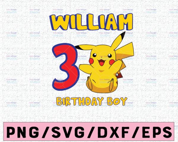 WTMETSY16122020 02 16 Vectorency Pikachu Custom Birthday SVG, Pokemon Personalized Birthday with Name and Age, Pikachu Birthday SVG