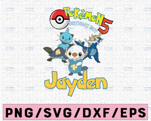 WTMETSY16122020 02 18 Vectorency Personalized Pokemon Birthday SVG, Custom Pokemon Birthday SVG With Name Age, Pokemon Birthday Party Logo, Pokemon Family Matching SVG