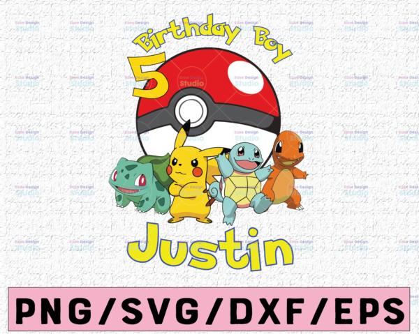 WTMETSY16122020 02 19 Vectorency Customized Birthday Boy SVG PNG, Pokemon Game SVG, Pikachu Lover Kids Gift SVG, Game Lover Boy SVG, Cute Gift