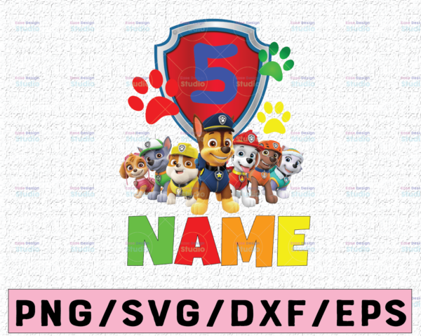WTMETSY16122020 02 41 Vectorency Paw Patrol Birthday PNG, Boy's Paw Patrol Birthday PNG, Paw Patrol Personalized Name and Age, Custom All Family Matching Paw Patrol PNG