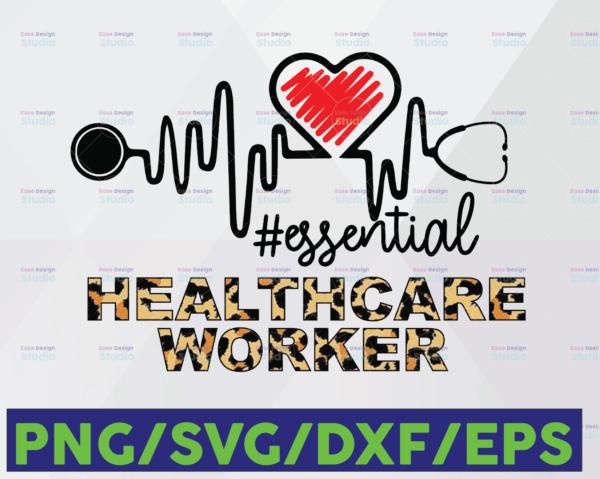 WTMETSY16122020 06 32 Vectorency Healthcare worker Essential Leopard SVG PNG, LPN PNG, Essential Leopard PNG, Heartbeat SVG Cricut PNG Printable Digital Print Design