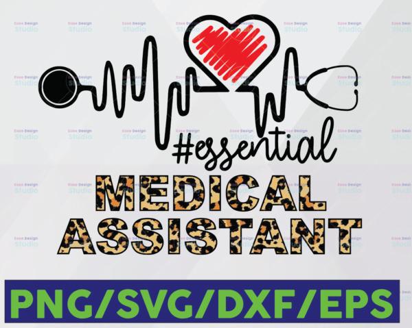 WTMETSY16122020 06 34 Vectorency Medical Assistant Essential Leopard SVG PNG, Medical Assistant PNG, Essential Leopard SVG, Heartbeat SVG Cricut Printable Digital Print Design