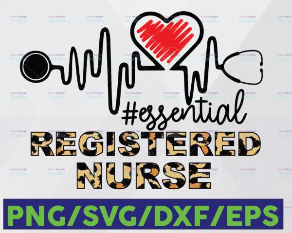 WTMETSY16122020 06 37 Vectorency Registered Nurse Essential Leopard SVG PNG, Essential Leopard SVG, Heartbeat SVG Cricut Printable Digital Print Design