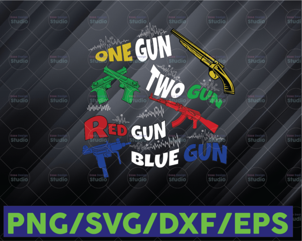 WTMETSY16122020 06 66 Vectorency One Gun Two Gun Red Gun Blue Gun SVG Digital PNG File, Sublimation Design Clip Art
