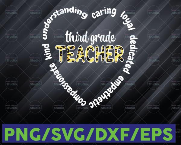 WTMETSY16122020 06 91 Vectorency Womens Third Grade Teacher Heart 3rd Grade Crew School 3rd Team PNG, 3rd Grade PNG, Teacher Appreciation, Educator, Heart