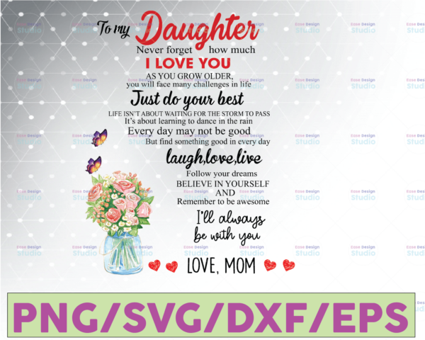 WTMETSY16122020 07 32 Vectorency To My Daughter PNG, Mother's Day Gift, Never Forget How Much I Love You, Love Mom PNG, Gift For Daughter, Custom Family