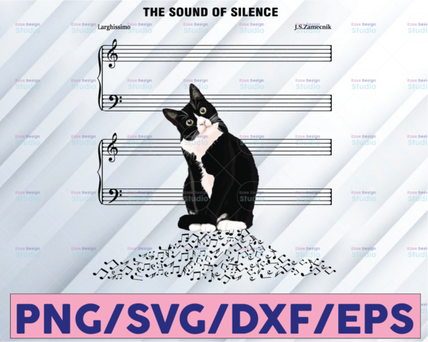 WTMETSY16122020 08 12 Vectorency The Sound Of Silence, Cat On Music Note, Cat Is Silence, Black and White Cat, Cat Owner, Cat Lovers, Gift For Friend, PNG Sublimation Print