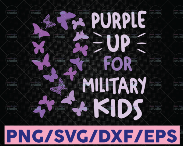 WTMETSY16122020 08 48 Vectorency Military Kids Purple Butterfly Svg, Purple Up Svg, Military Soldier Svg, US Army Veteran Svg, Military Child And Proud Of It, Cricut Design