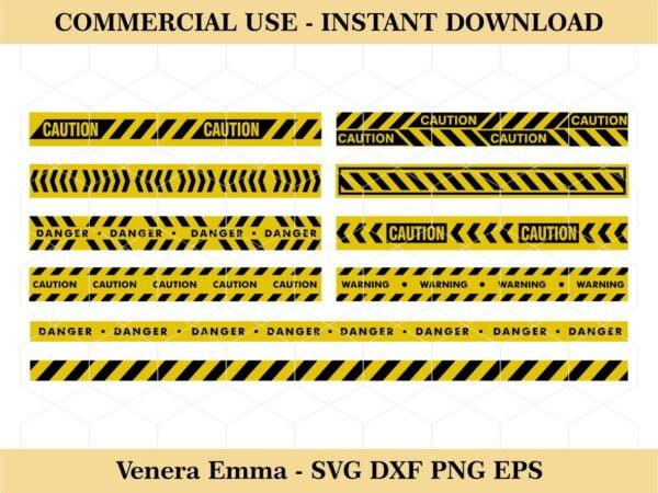 Yellow Black Warning Line Vector Clipart SVG