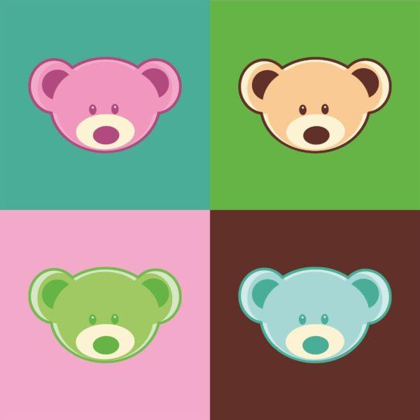 cute bear faces 65 2500x2500 1 Vectorency Cute Teddy Bear Faces Pattern